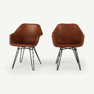 Set of 2 Hektor Tub Dining Chair, Tan and Black