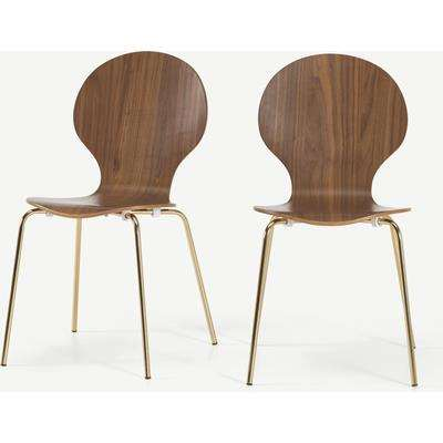 Set of 2 Kitsch Dining Chairs, Walnut and Brass