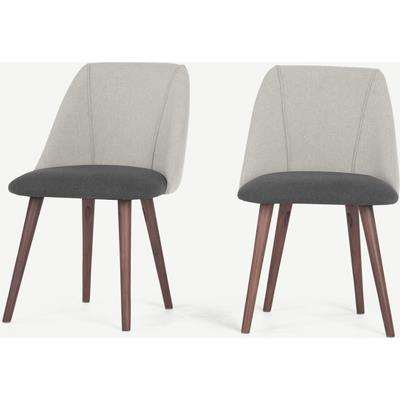 Set of 2 Lule Dining Chairs, Marl and Hail Grey