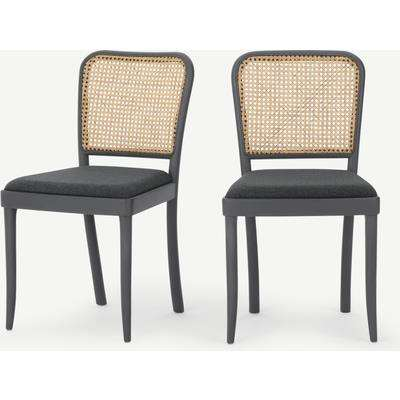 Set of 2 Raleigh Dining chairs, Charcoal and Rattan