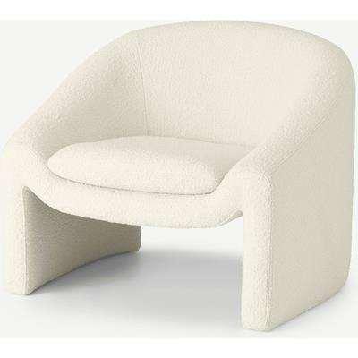 Shona Accent Armchair, Whitewash Boucle
