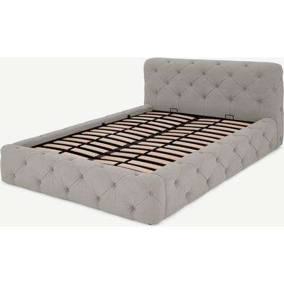 Sloan Super King Size Ottoman Storage Bed, Washed Grey Cotton
