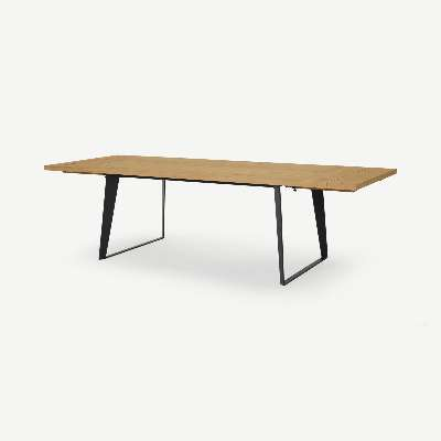 Solin 6-12 Seat Extending Dining Table, Rustic Oak