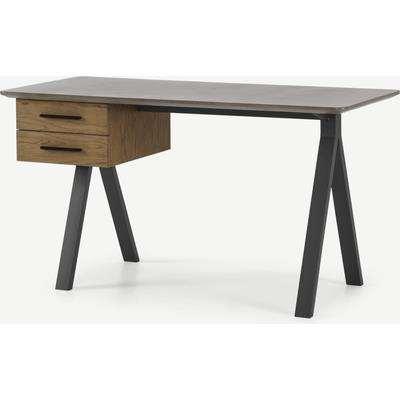 Sora Storage Desk, Smoaked Oak & Concrete