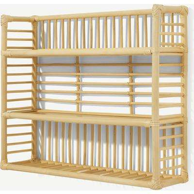 Soren Square Wall Shelf Unit, 60 x 50cm, Natural Rattan