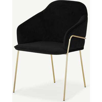 Stanley Carver Dining Chair, Deep Black Velvet with Brass Legs