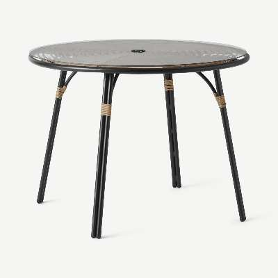 Swara Garden 4 seater Round Dining Table, Polyrattan and Glass