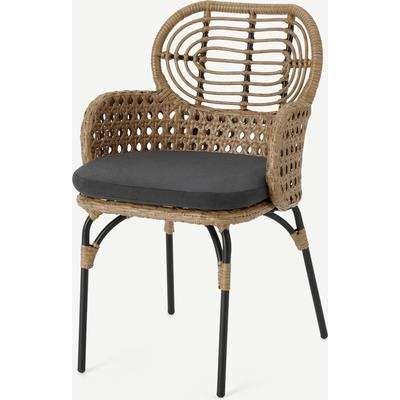 Swara Garden Carver Chair, Polyrattan, Natural and Black