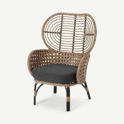 Swara Garden High back lounge Chair, Natural Polyrattan and Black