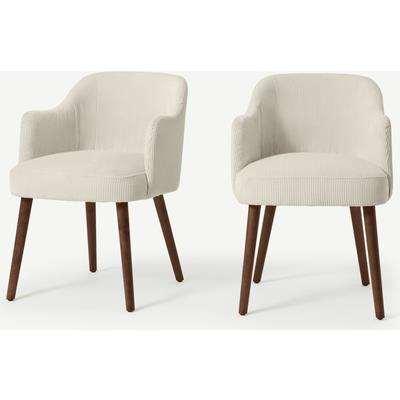 Swinton Set of 2 Carver Dining Chairs, Ecru Corduroy Velvet with Walnut Legs