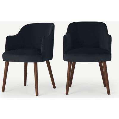 Swinton Set of 2 Carver Dining Chairs, Dusk Blue Velvet & Walnut Leg