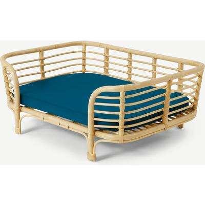 Syla Rattan Pet Bed, Natural & Green, L/XL