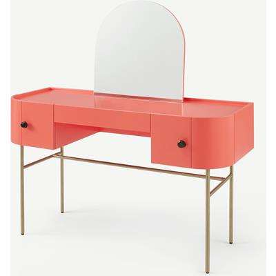 Tandy Dressing Table, Coral Pink with Gloss Black Handles & Brass Legs