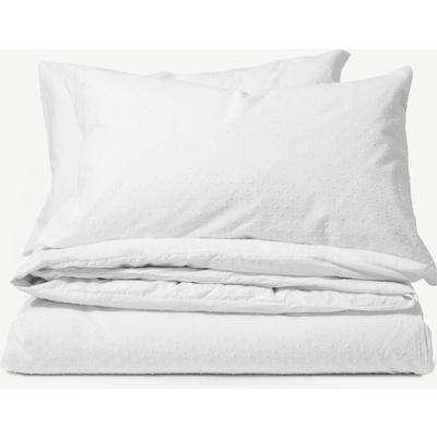 Veli 100% Cotton Plumetis Weave Duvet Cover + 2 Pillowcases, Double, White