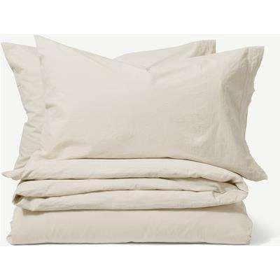 Zana 100% Organic Cotton Stonewashed Duvet Cover + 2 Pillowcases, Double, Natural