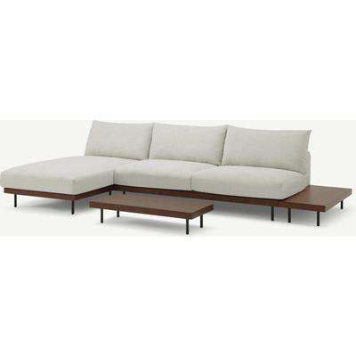 Zita Modular Chaise End Corner Sofa with 2 Side Tables, Kyoto Oyster