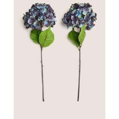 2 Pack Artificial Hydrangeas Single Stem blue