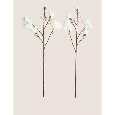 2 Pack Artificial Magnolias Single Stem white