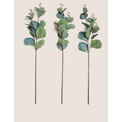3 Pack Artificial Eucalyptus Single Stem green