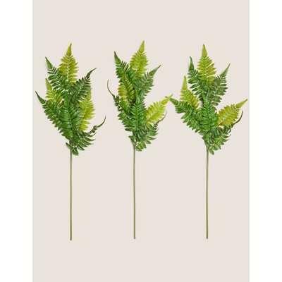 3 Pack Artificial Ferns Single Stem green