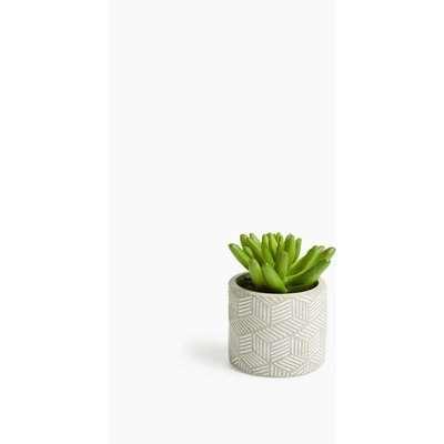 Artificial Mini Succulent in Concrete Pot green
