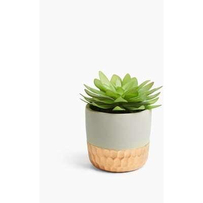 Artificial Succulent in Metallic Pot green