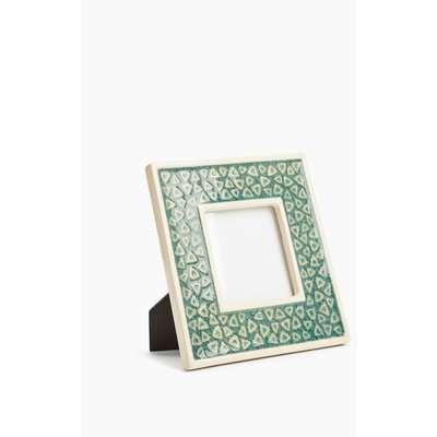 Ceramic Geometric Photo Frame 3x3 inch green