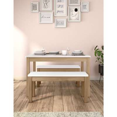 Dining Table with Benches white