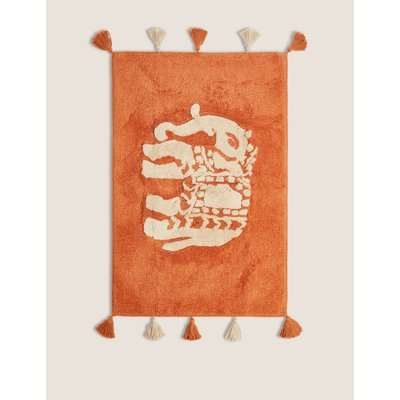 Priya Pure Cotton Elephant Bath Mat orange