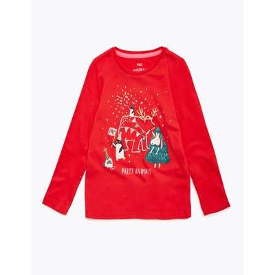 Pure Cotton Christmas Party Animals Top (2-7 Yrs) red