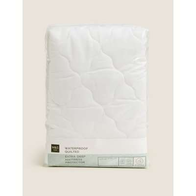 Quilted Waterproof Extra Deep Mattress Protector white