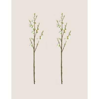 Set of 2 Artificial Blossom Single Stems white