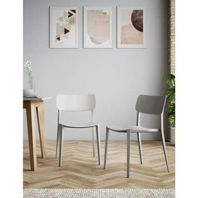 Set of 2 Modern Dining Chairs grey