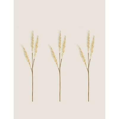 Set of 3 Artificial Grass Single Stems beige