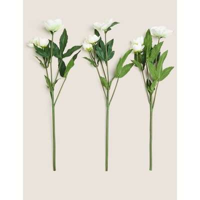 Set of 3 Artificial Hellebore Single Stems white