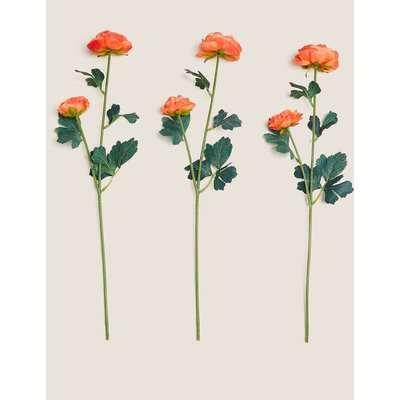 Set of 3 Artificial Ranunculus Single Stems orange