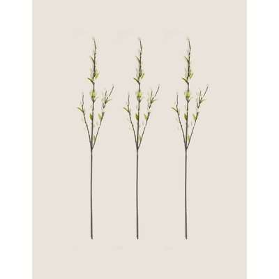 Set of 3 Artificial Willow Single Stems white
