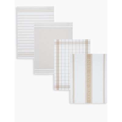 Set of 4 Assorted Design Tea Towels cream