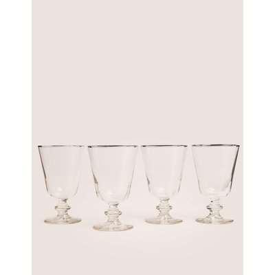 Set of 4 Metallic Rim Wine Glasses silver