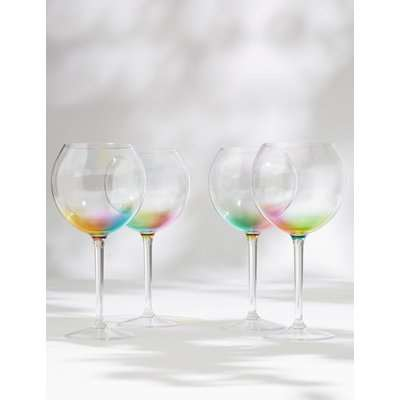 Set of 4 Rainbow Picnic Gin Glasses multi-coloured