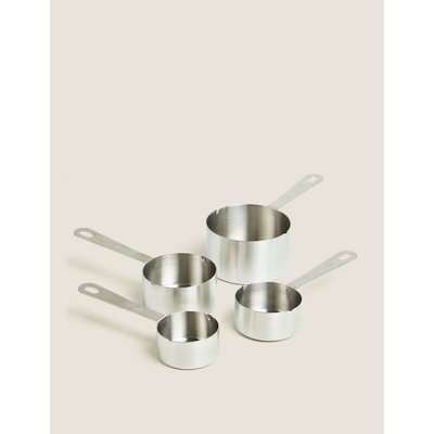 Set of 4 Stainless Steel Measuring Cups silver