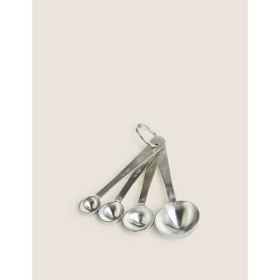 Set of 4 Stainless Steel Measuring Spoons silver