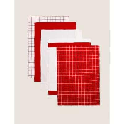 Set of 5 Printed Tea Towels red