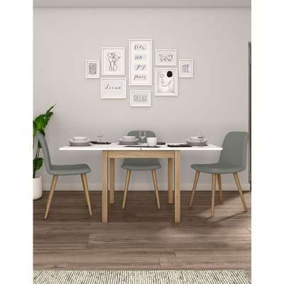 Square Extending Dining Table white