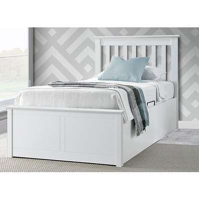 """Bedmaster Francis White Ottoman Bed - Single (3' x 6'3"""")"""