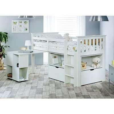 "Bedmaster Milo White Sleep Station Desk Storage Bed - Single (3' x 6'3"")"