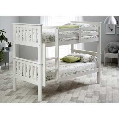 """Bedmaster White Carra Bunk Bed - Single (3' x 6'3"""")"""