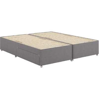 "Dunlopillo Slatted Divan Bed Base - Single (3' x 6'3""), 2 Drawers, Dunlopillo_Silver Fox"