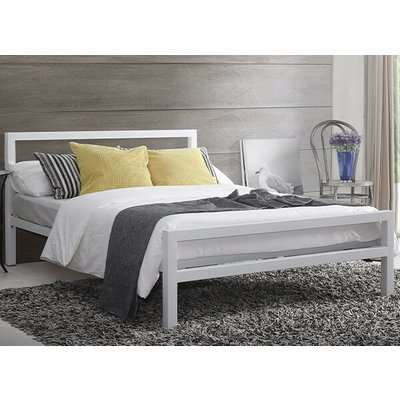 """Time Living City Block White Bed Frame - Double (4'6"""" x 6'3"""")"""