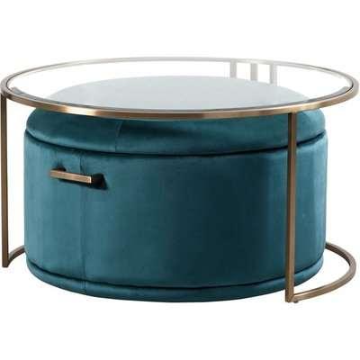 Aria Coffee Table and Storage Ottoman Black - Set